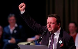 Comedian Oliver Callan takes part in A Noble Call for Marriage Equality, an arts event in support of a Yes vote in Ireland's Gay marriage referendum, at the Abbey Theater in Dublin.