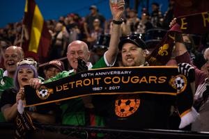 The game was played in a noisy, vibrant atmosphere with the 5000 Detroit fans treating their 50 Glens counterparts, several ex-pats among them, to a rousing repertoire of original chants and songs. Photo: Jon DeBoer/DCFC