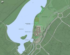 A map outlining the site of the proposed new college on land surrounding Craigavon Lakes
