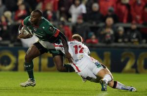 Miles Benjamin (L) of Leicester Tigers is tackled by Darren Cave (R) of Ulster during this afternoons European Rugby Champions Cup Pool 3 match at the Kingspan stadium. (Photo by Charles McQuillan/Getty Images)