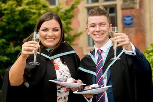 Pictured graduating from the School of Medicine, Dentistry and Biomedical Sciences at Queen's University Belfast are Ruth Rowland and Michael Dolaghan.
