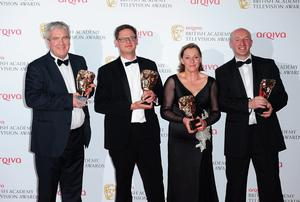 Left to right. Winners of Current Affairs News Coverage Award for The Shame of the Catholic Church Darragh MacIntyre, Sam Collyns, Alison Millar and Seamus McCracken, at the 2013 Arqiva British Academy Television Awards at the Royal Festival Hall, London. PRESS ASSOCIATION Photo. Picture date: Sunday May 12, 2013. See PA story SHOWBIZ Bafta. Photo credit should read: Ian West/PA Wire