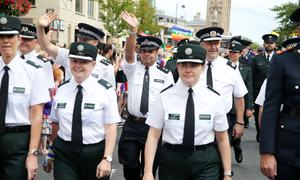 Press Eye - Belfast - Northern Ireland  - 5th August 2017   Members of the PSNI and the Garda join thousands of people as they take part in the annual Belfast Pride event in Belfast city centre celebrating Northern Ireland's LGBT community.  Photo by Kelvin Boyes / Press Eye.