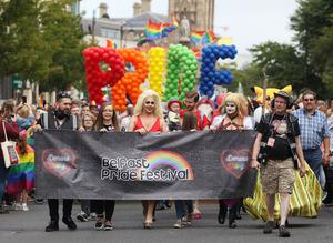 Press Eye - Belfast - Northern Ireland  - 5th August 2017   Thousands of people take part in the annual Belfast Pride event in Belfast city centre celebrating Northern Ireland's LGBT community.  Photo by Jonathan Porter  / Press Eye.