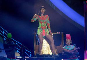 Katy Perry on stage during the 2014 Brit Awards at the O2 Arena, London