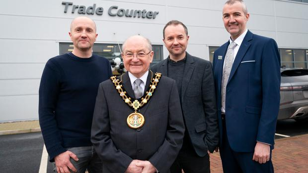From Left: Trade Moulding's Production Director, Austin McOscar; Mayor of Rochdale, Councillor Billy Sheerin; Managing Director Conor McOscar and Sales Director, Damien Connolly.