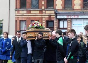 Requiem Mass is held at St Malachy's Church, Castlewellan for Ellen who died in a fire at her house in the Co. Down village.  Picture: Matt Mackey - Presseye.com