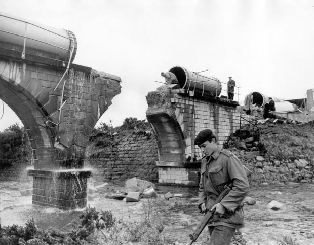 Reservoirs: Silent Valley. Explosion.  Annalong water pipe explosion.   24/4/1969