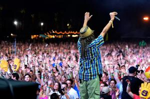 INDIO, CA - APRIL 12:  and Akil of Jurassic 5 perform onstage during day 1 of the 2013 Coachella Valley Music & Arts Festival at the Empire Polo Club on April 12, 2013 in Indio, California.  (Photo by Frazer Harrison/Getty Images for Coachella)