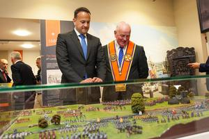 Taoiseach Leo Varadkar  is greeted by Grand Master of the Orange Order Edward Stevenson as he visits the Museum of Orange Heritage in Belfast. Pic Colm Lenaghan /Pacemaker