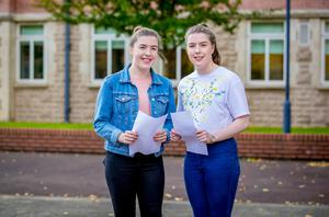 Megan Wilkinson and Amy Wilkinson receives A-Level results at St Dominic's Grammar School for Girls on August 17th 2017 (Photo by Kevin Scott / Belfast Telegraph)