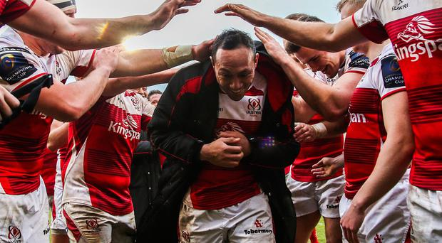 Ulster's Christian Lealiifano is clapped off the pitch by his team-mates on his last home game for Ulster.