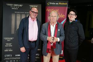 Press Eye Belfast - Northern Ireland - 31st July 2016    John Darcy, Eamonn Mallie and John Darcy are pictured at the film premiere of Bobby Sands: 66 Days at the Omniplex Cinema at the Kennedy Centre in west Belfast.  The premiere was hosted with Féile An Phobail and West Belfast Film Festival.  Photo by Kelvin Boyes  / Press Eye