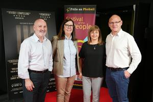 Press Eye Belfast - Northern Ireland - 31st July 2016    Alex Maskey, Liz Maskey, Patricia Maskey and Paul Maskey are pictured at the film premiere of Bobby Sands: 66 Days at the Omniplex Cinema at the Kennedy Centre in west Belfast.  The premiere was hosted with Féile An Phobail and West Belfast Film Festival.  Photo by Kelvin Boyes  / Press Eye