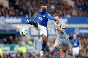 Everton's Arouna Kone (left) and Newcastle United's Michael Williamson (right) battle for the ball during the Barclays Premier League match at Goodison Park, Liverpool. Lynne Cameron/PA Wire.
