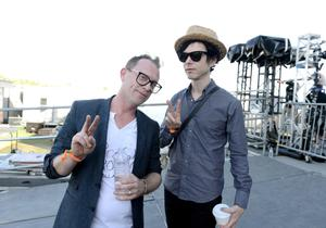 INDIO, CA - APRIL 12:  Musician Torquil Campbell (L) of the band Stars and musician Nick Zinner of the band Yeah Yeah Yeahs pose backstage during day 1 of the 2013 Coachella Valley Music & Arts Festival at the Empire Polo Club on April 12, 2013 in Indio, California.  (Photo by Kevin Winter/Getty Images for Coachella)