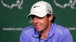 Rory McIlroy speaks to the media during a practice round prior to the start of the 2013 Masters Tournament at Augusta National Golf Club on April 9