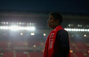 A Liverpool fan inside the stadium prior to kick off during the EFL Cup fourth round match between Liverpool and Tottenham Hotspur at Anfield on October 25, 2016 in Liverpool, England.  (Photo by Jan Kruger/Getty Images)