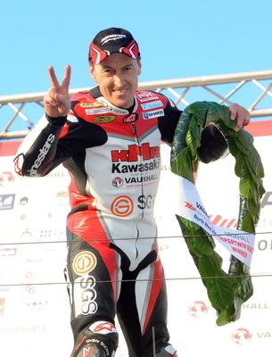 PACEMAKER BELFAST, 16-05-13: Jeremy McWilliams celebrates winning the Supertwins race at the Vauxhall International North West 200 this evening. PICTURE BY STEPHEN DAVISON