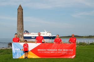 Ferry special: Larne Athletic Club members launch the P&O sponsored Antrim Coast Half Marathon, (from left) Ruth Moore (club secretary and assistant race director), Dani McIlroy, James McIlroy, Jayne Liddle (race committee) and Billy Thompson (race director)