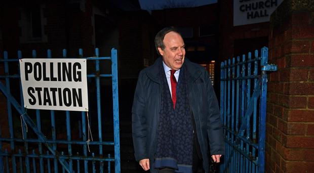 DUP Deputy Leader Nigel Dodds at Seaview Church Hall polling station on the Shore Road in Belfast , for the Westminster election. Pic Colm Lenaghan/Pacemaker