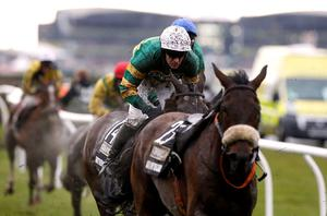 Shutthefrontdoor ridden by jockey Barry Geraghty during the Crabbie's Grand National Chase during Grand National Day of the Crabbie's Grand National Festival at Aintree Racecourse, Liverpool. PRESS ASSOCIATION Photo. Picture date: Saturday April 9, 2016. See PA story RACING National. Photo credit should read: Peter Byrne/PA Wire