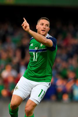 Conor Washington of Northern Ireland celebrates after scoring during the international friendly game between Northern Ireland and Belarus on May 26, 2016 in Belfast, Northern Ireland. (Photo by Charles McQuillan/Getty Images)