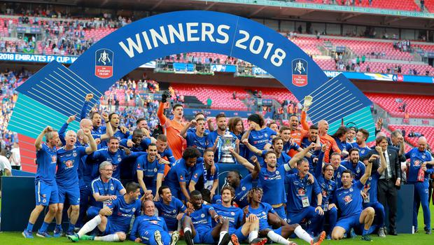 Chelsea celebrate as they win the FA Cup at Wembley on May 19th 2018 (Photo by Kevin Scott / Belfast Telegraph)