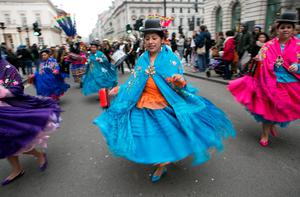 Bolivian traditional dancers take part in the Mayor of London's St Patrick's Day Parade and Festival in London. Daniel Leal-Olivas/PA Wire.