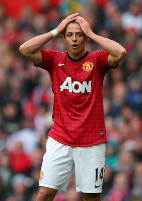 MANCHESTER, ENGLAND - MAY 12:  Javier Hernandez of Manchester United reacts during the Barclays Premier League match between Manchester United and Swansea City at Old Trafford on May 12, 2013 in Manchester, England.  (Photo by Alex Livesey/Getty Images)