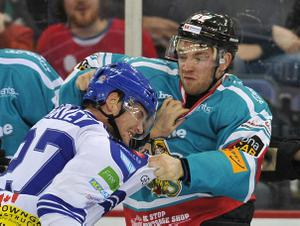 21/12/13: Kevin Phillips of the Belfast Giants fights Kevin Harvey of the Coventry Blaze during the Elite League game at the Odyssey Arena.