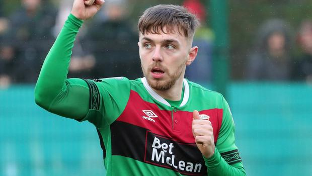 Robbie McDaid netted a hat-trick for Glentoran