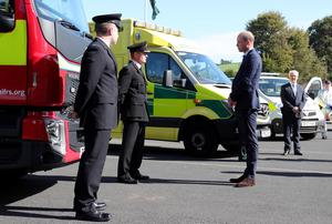Press Eye - Belfast - 9th September 2020 -   The Duke of Cambridge is pictured during his visit to PSNI Garnerville in East Belfast. The Duke thanked many of the PSNI, Fire Service and Ambulance Service emergency responders who worked during the COVID-19 pandemic. His visit took place on 9th September which is 999 day.  Photo by Kelvin Boyes / Press Eye.