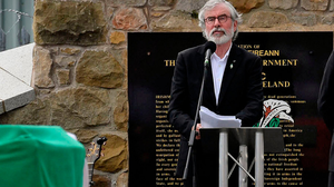Gerry Adams makes a speech at the funeral of Bobby Storey