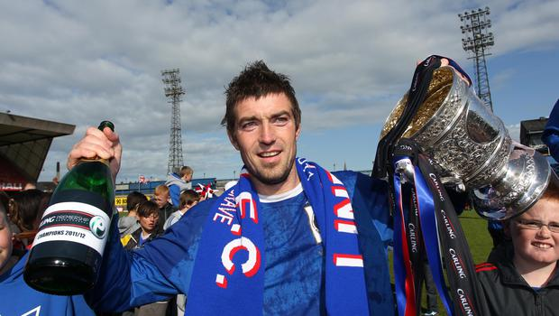 Good times: Steven hails his Premiership win at Linfield