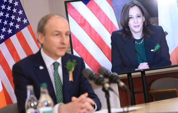 Micheal Martin speaking with US Vice President Kamala Harris (Julien Behal Photography/PA)