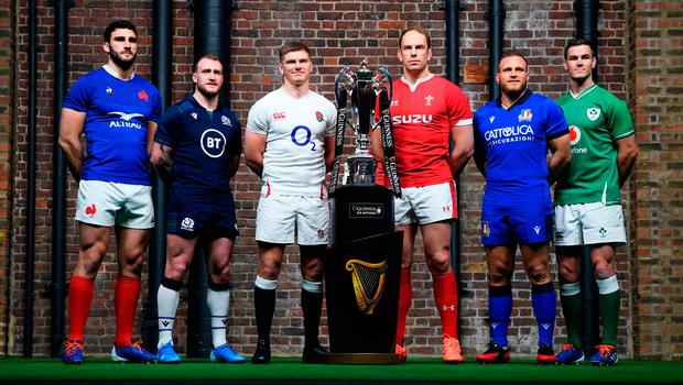 Captain material: (from left) Six Nations captains Charles Ollivon (France), Stuart Hogg (Scotland), Owen Farrell (England), Alun Wyn Jones (Wales), Luca Bigi (Italy) and Jonathan Sexton (Ireland) at the launch of the tournament in London
