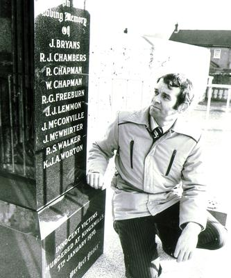 Alan Black:Survivor of the Kingsmill, Armagh, Massacre/Shooting, when he was shot with his 10 workmates in an ambushon their way home from work by gunmen. Pictured at the Kingsmill Memorial monument. 4/1/1981