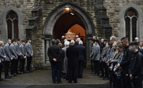 The funeral for Cillian Draine takes place at at St Therese of Lisieux Church in North Belfast. Credit: Colm Lenaghan/ Pacemaker Press