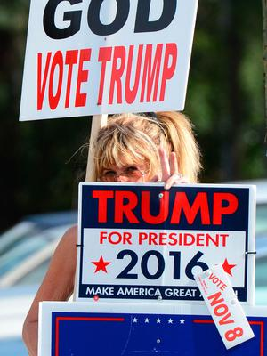 Volunteer Gay Browne peeks through her signs supporting Donald Trump outside a polling place for Precinct 109 at University Blvd and Floral Avenue in Jacksonville, Fla, Tuesday, Nov. 8, 2016. (Bob Mack/The Florida Times-Union via AP)