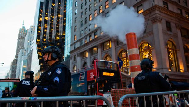 New York Police Officers patrol the area outside Trump Tower on election day November 8, 2016 in New York. / AFP PHOTO / DOMINICK REUTERDOMINICK REUTER/AFP/Getty Images