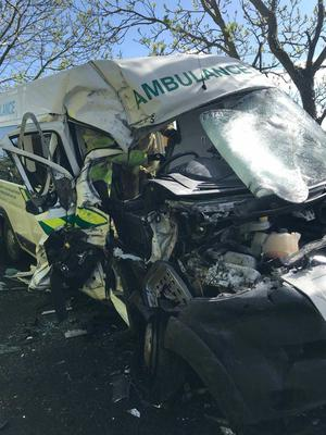 The ambulance after the head on crash.