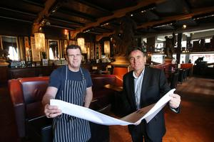The iconic Northern Whig, situated on Bridge Street, in Belfast's Cathedral Quarter, has been acquired by the Horatio Group with a further £300,000 set to be spent on a major refurbishment of the venue resulting in a gross spend exceeding £2m.  Pictured at the announcement is Northern Whig Head Chef, Rick Orr (left) with Stephen Magorrian, Managing Director of the Horatio Group. Picture by Kelvin Boyes / Press Eye.