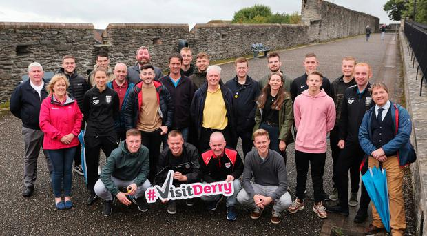 Raring to go: Referees and supporters of the O'Neills Foyle Cup are looking forward to the action getting under way