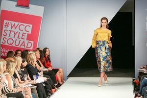 West Coast Cooler Fashion Week. Pictured: Molly J with a Bird Print Skirt and Mustard Blouse from M&S. Picture: Philip Magowan / PressEye (21st October 2016)