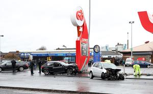 Scene of a two car collision at Go Petrol Station, Brougham Street, Belfast. Photo Laura Davison/Pacemaker Press