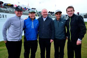 NEWCASTLE, NORTHERN IRELAND - MAY 27 : (L-R) Matt Ginella, TV Personally Patrick Kielty, Deputy First Minister Martin McGuinness, Ricky Fowler of the USA and former Jockey AP McCoy pose on the 18th green after playing in the Pro-Am during the Irish Open Previews at Royal County Down Golf Club on May 27, 2015 in Newcastle, United Kingdom. (Photo by Mark Runnacles/Getty Images)