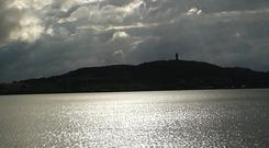 I took this photo of the view over Strangford Lough to Scrabo Tower on my mobile - July 2016. I didn't notice the unusual cloud formation till after I'd taken the picture! Submitted by Jane Gregory