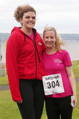 Northern Ireland- 23rd May 2014 Mandatory Credit - Photo-Jonathan Porter/Presseye.  Belfast Telegraph RunHer 10k coastal challenge from Seapark to Crawfordsburn.  Left to right.  Caroline Rea and Rebecca Dunlop from  Mallusk Harriers at Seapark before the race.