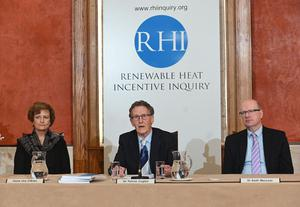 RHI Inquiry chairman Sir Patrick Coghlin  accompanied by Dame Una O'Brien (statutory Inquiry panel member) and Dr Keith MacLean, (technical assessor to the Inquiry),  present the findings. Pic Colm Lenaghan/ Pacemaker